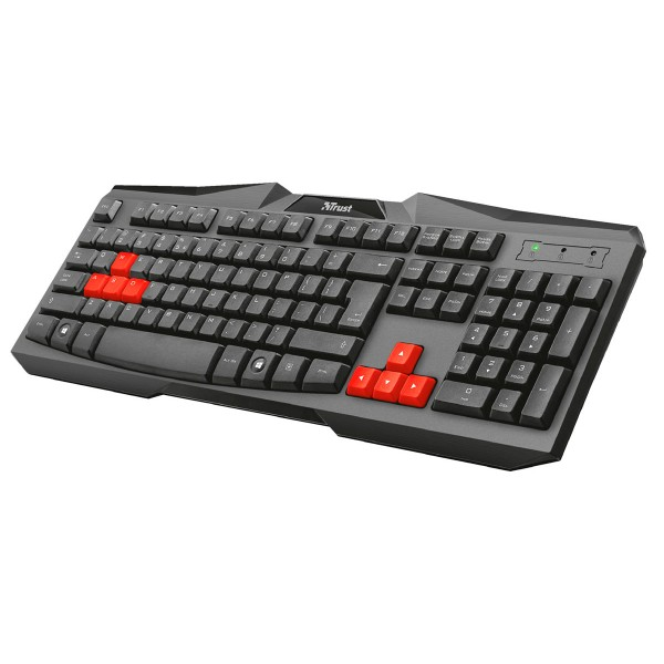 Trust ziva teclado gaming negro con teclas rojas cable usb resistente a los vertidos