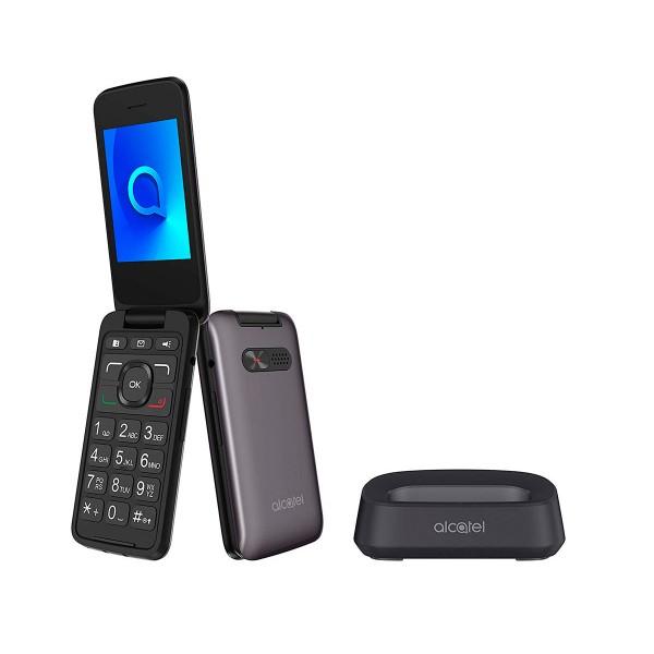 Alcatel 3026x gris metálico móvil senior 3g 2.8'' tft bluetooth cámara con flash led base de carga y botón sos