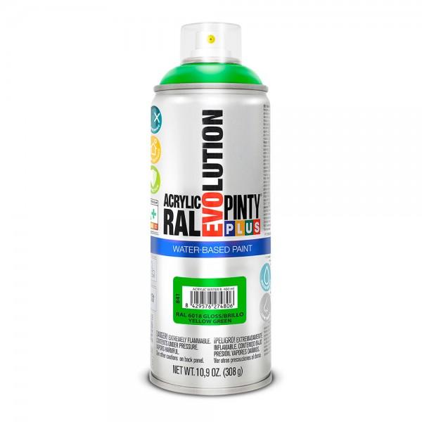 Pintura en spray pintyplus evolution water-based 520cc ral 6018 verde amarillento